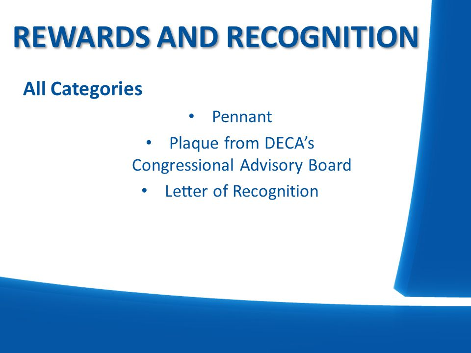 All Categories Pennant Plaque from DECA's Congressional Advisory Board Letter of Recognition REWARDS AND RECOGNITION