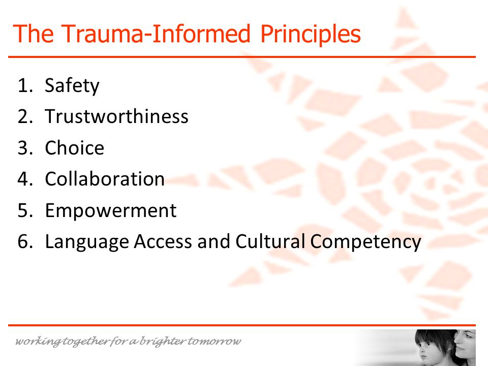 working together for a brighter tomorrow The Trauma-Informed Principles 1.Safety 2.Trustworthiness 3.Choice 4.Collaboration 5.Empowerment 6.Language Access and Cultural Competency