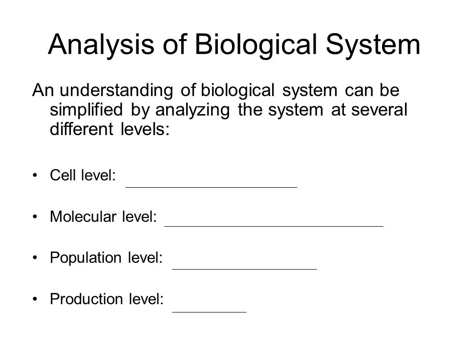 Analysis of Biological System An understanding of biological system can be simplified by analyzing the system at several different levels: Cell level: Molecular level: Population level: Production level: