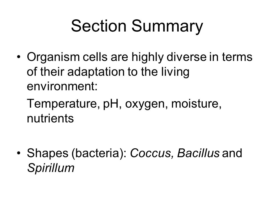 Section Summary Organism cells are highly diverse in terms of their adaptation to the living environment: Temperature, pH, oxygen, moisture, nutrients Shapes (bacteria): Coccus, Bacillus and Spirillum