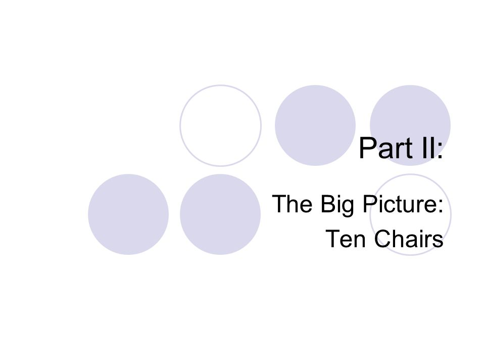 Part II: The Big Picture: Ten Chairs