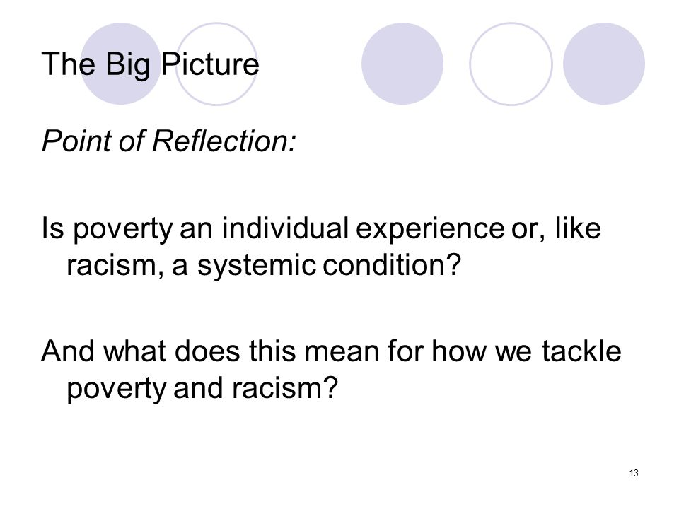 13 The Big Picture Point of Reflection: Is poverty an individual experience or, like racism, a systemic condition.