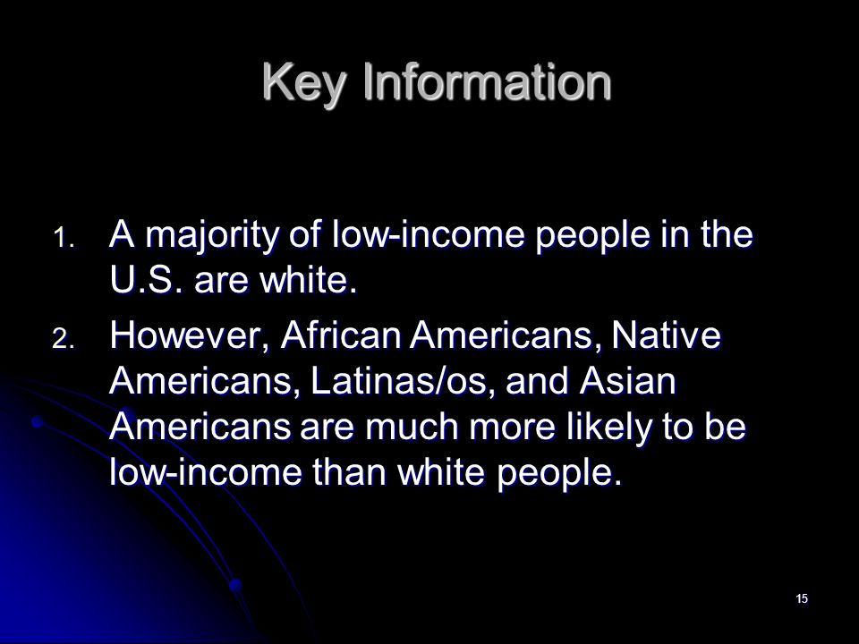 15 Key Information Key Information 1. A majority of low-income people in the U.S.