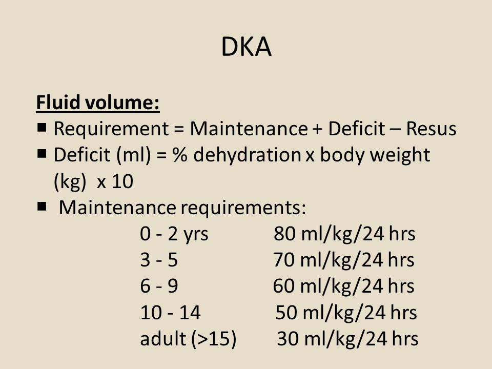 DKA Fluid volume:  Requirement = Maintenance + Deficit – Resus  Deficit (ml) = % dehydration x body weight (kg) x 10  Maintenance requirements: 0 - 2 yrs 80 ml/kg/24 hrs 3 - 5 70 ml/kg/24 hrs 6 - 9 60 ml/kg/24 hrs 10 - 14 50 ml/kg/24 hrs adult (>15) 30 ml/kg/24 hrs