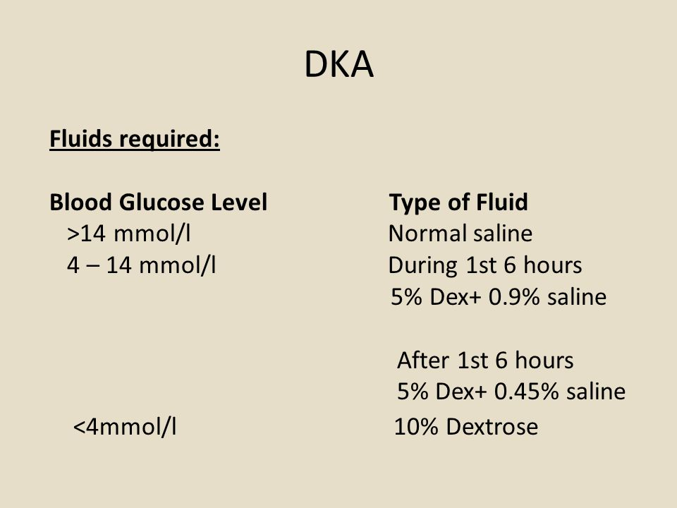 DKA Fluids required: Blood Glucose Level Type of Fluid >14 mmol/l Normal saline 4 – 14 mmol/l During 1st 6 hours 5% Dex+ 0.9% saline After 1st 6 hours 5% Dex+ 0.45% saline <4mmol/l 10% Dextrose