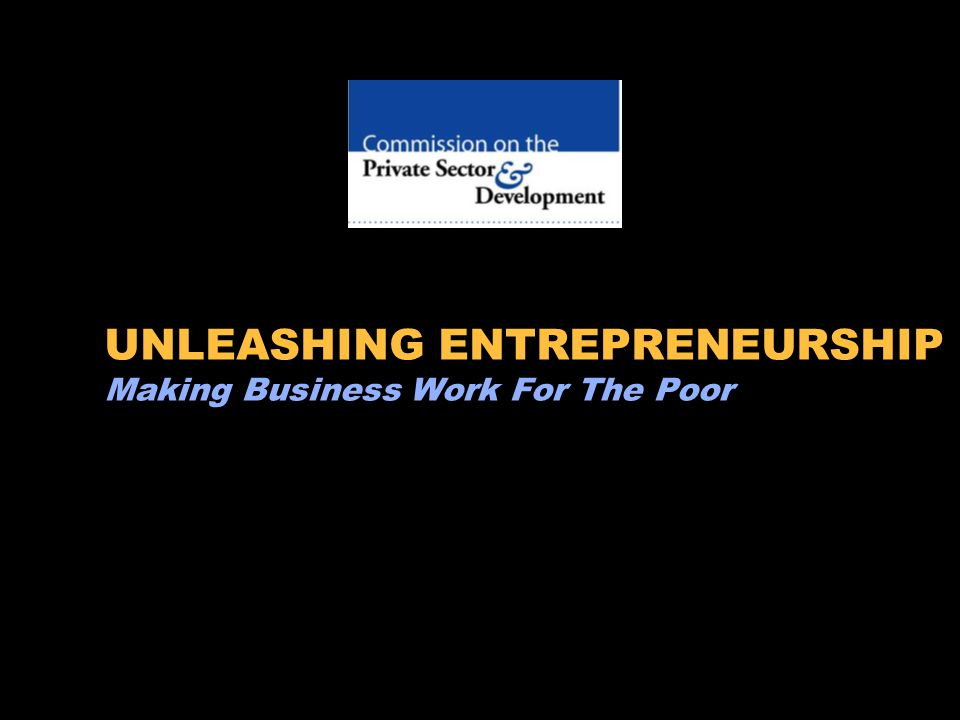 UNLEASHING ENTREPRENEURSHIP Making Business Work For The Poor