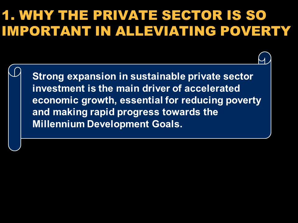 6 1. WHY THE PRIVATE SECTOR IS SO IMPORTANT IN ALLEVIATING POVERTY Strong expansion in sustainable private sector investment is the main driver of acc