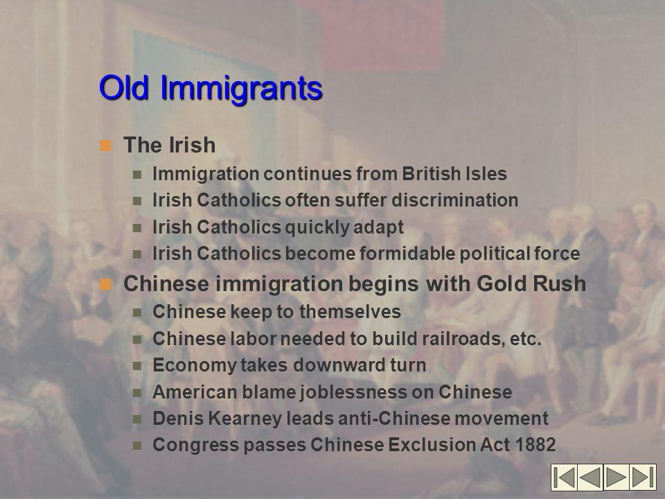 Old Immigrants The Irish Immigration continues from British Isles Irish Catholics often suffer discrimination Irish Catholics quickly adapt Irish Cath
