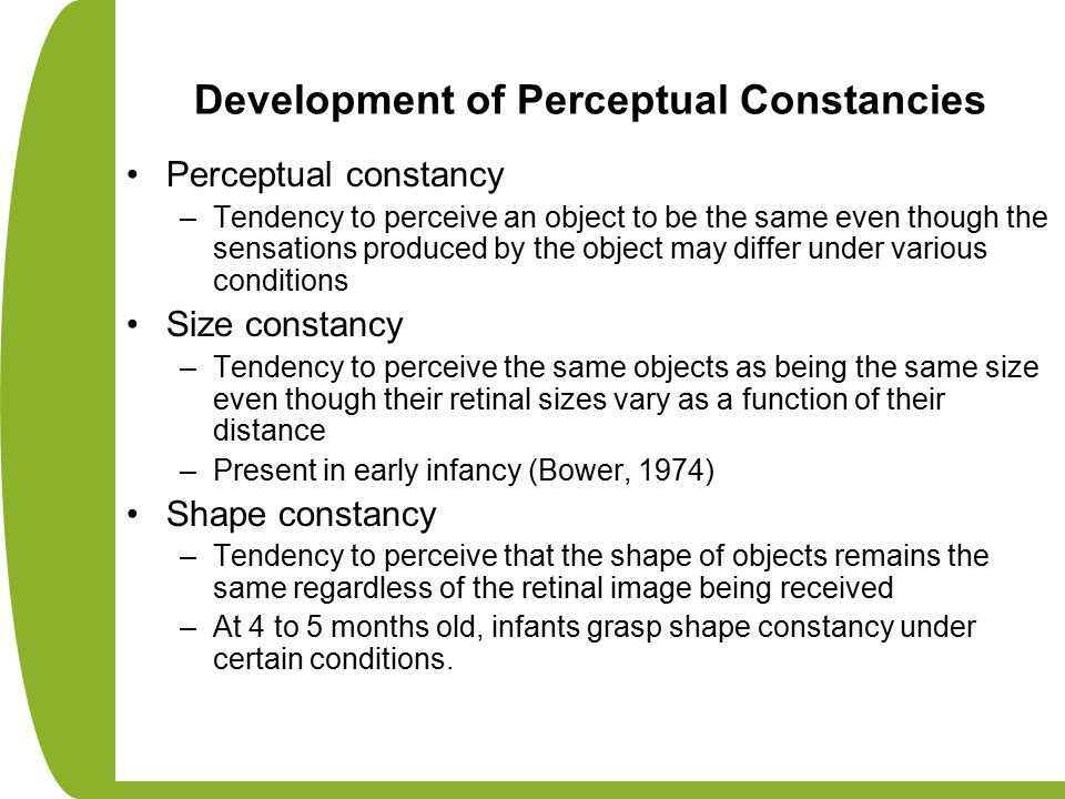Development of Perceptual Constancies Perceptual constancy –Tendency to perceive an object to be the same even though the sensations produced by the o
