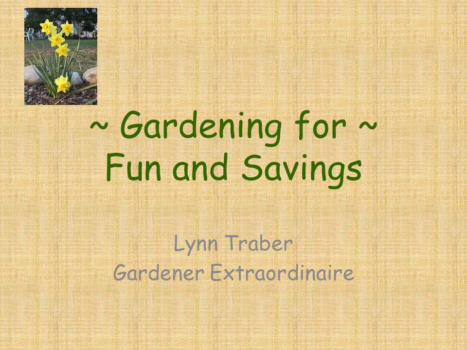 ~ Gardening for ~ Fun and Savings Lynn Traber Gardener Extraordinaire