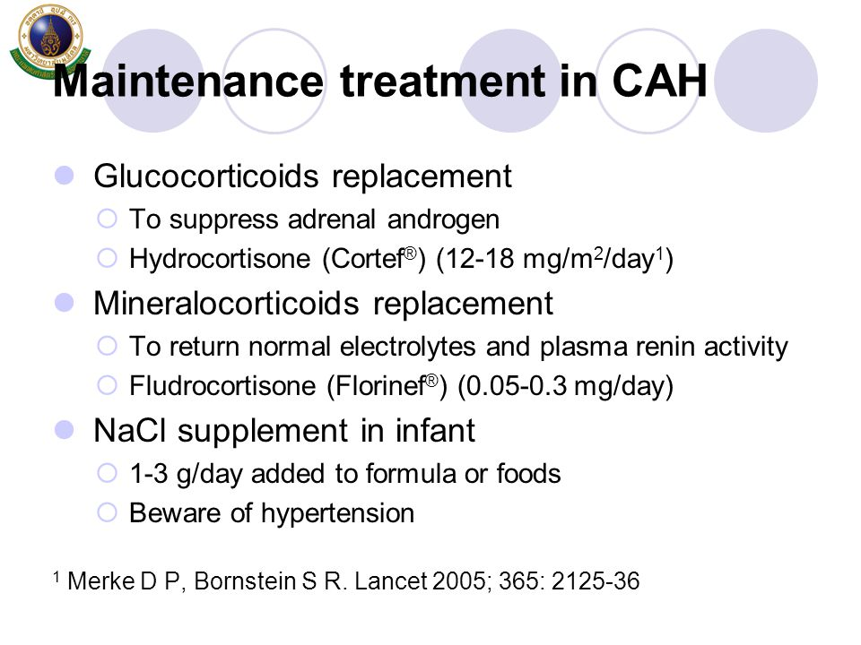 Maintenance treatment in CAH Glucocorticoids replacement  To suppress adrenal androgen  Hydrocortisone (Cortef ® ) (12-18 mg/m 2 /day 1 ) Mineraloco