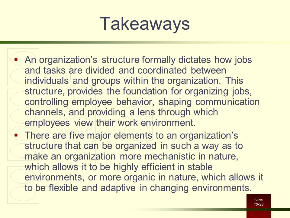 Slide 15-33 Takeaways  An organization's structure formally dictates how jobs and tasks are divided and coordinated between individuals and groups wi