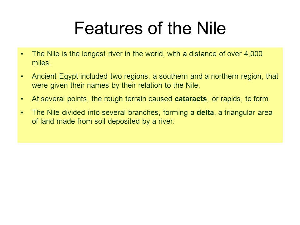 The Floods of the Nile Little rain fell in the Egyptian desert, but the Nile flooded every year in the summer and fall.