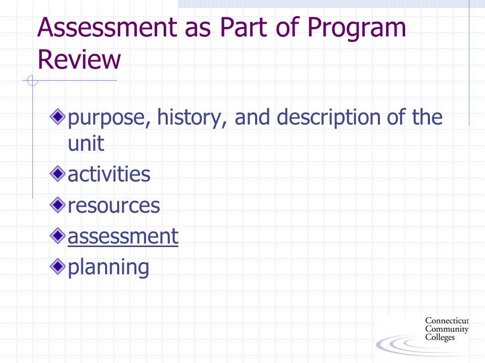 Assessment as Part of Program Review purpose, history, and description of the unit activities resources assessment planning