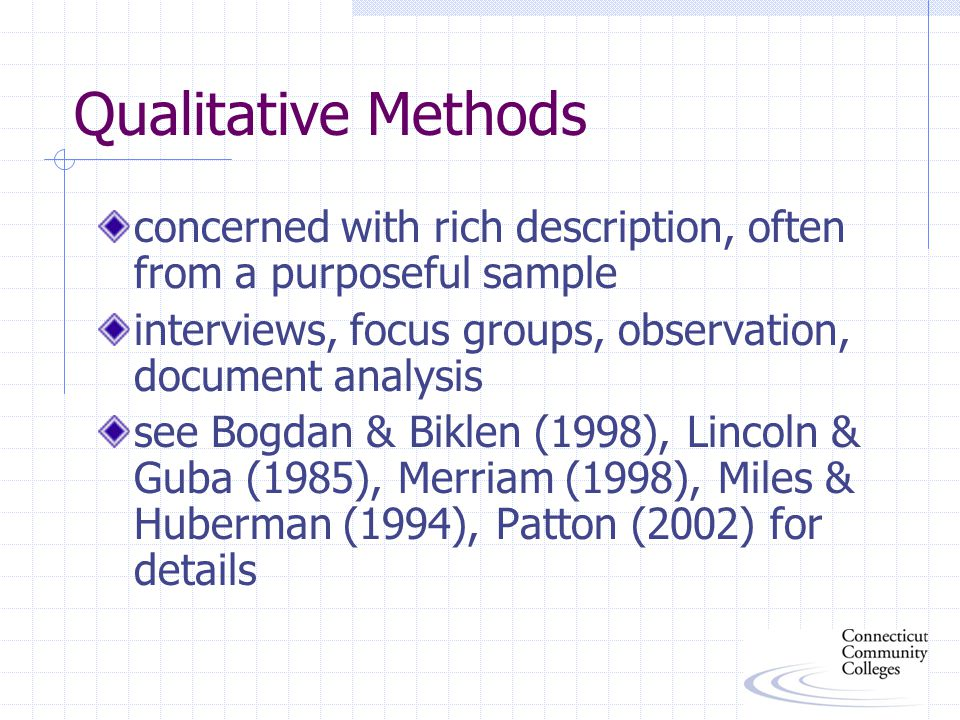 Qualitative Methods concerned with rich description, often from a purposeful sample interviews, focus groups, observation, document analysis see Bogdan & Biklen (1998), Lincoln & Guba (1985), Merriam (1998), Miles & Huberman (1994), Patton (2002) for details