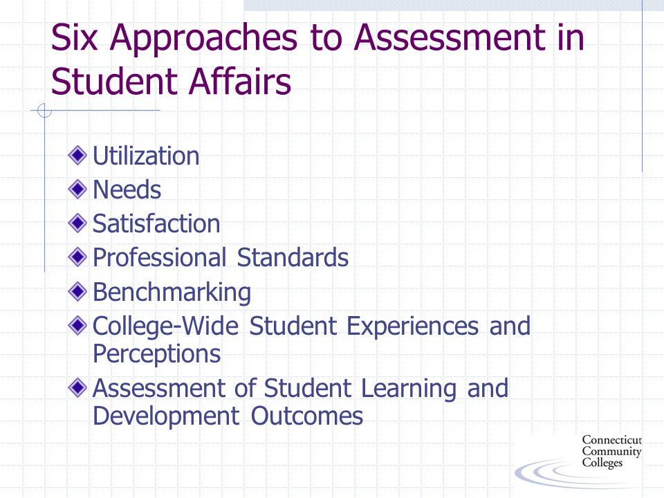 Six Approaches to Assessment in Student Affairs Utilization Needs Satisfaction Professional Standards Benchmarking College-Wide Student Experiences and Perceptions Assessment of Student Learning and Development Outcomes