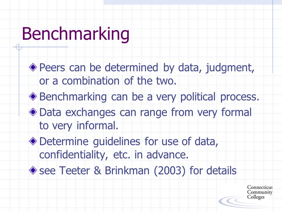 Benchmarking Peers can be determined by data, judgment, or a combination of the two.