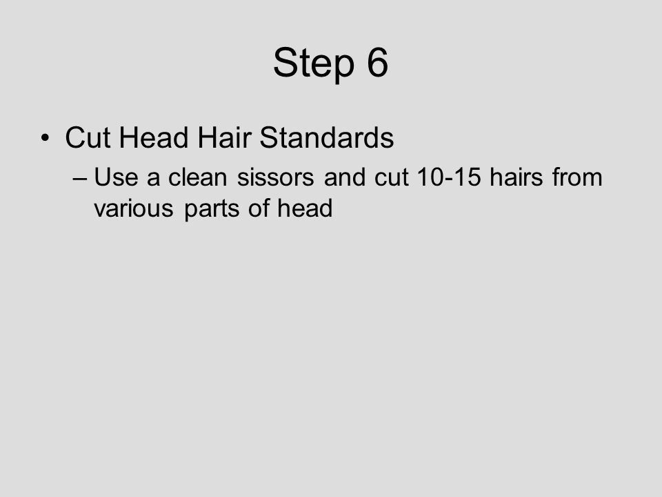 Step 6 Cut Head Hair Standards –Use a clean sissors and cut 10-15 hairs from various parts of head