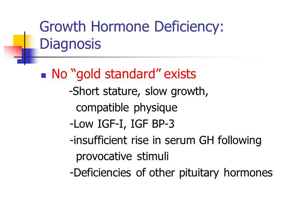 "Growth Hormone Deficiency: Diagnosis No ""gold standard"" exists -Short stature, slow growth, compatible physique -Low IGF-I, IGF BP-3 -insufficient ris"