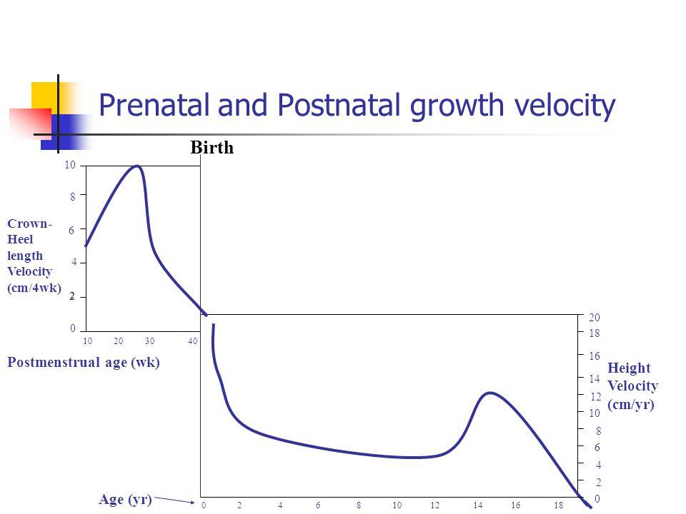Prenatal and Postnatal growth velocity 10 20 30 40 0 2 4 6 8 10 12 14 16 18 Birth 0 2 10 8 6 2 20 0 Crown- Heel length Velocity (cm/4wk) Height Veloci