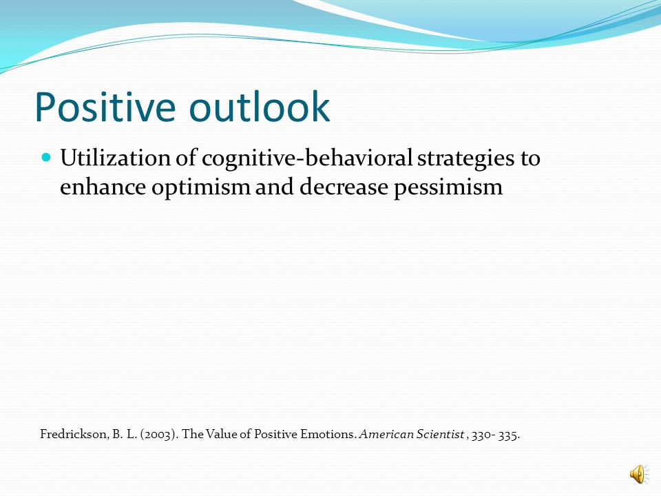 """Psychosocial factors that influence the """"Resilience factor"""" Positive outlook Social support Hardiness Self enhancement Active coping style Moral compa"""