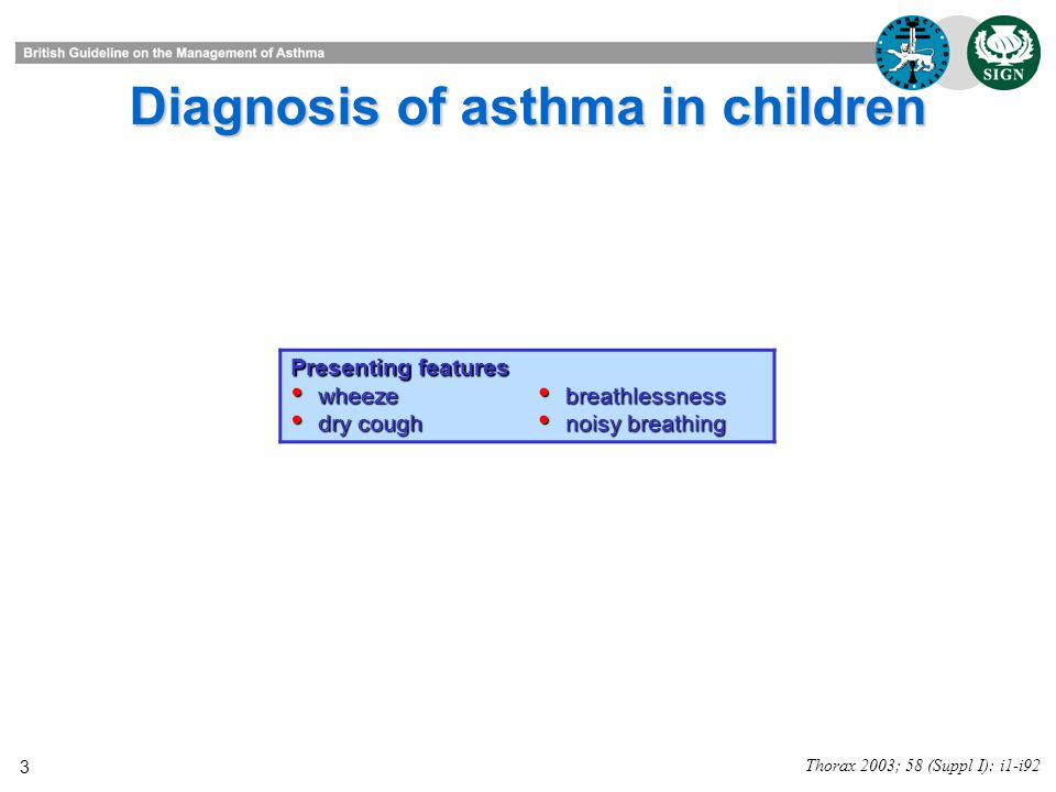3 Diagnosis of asthma in children Thorax 2003; 58 (Suppl I): i1-i92 Presenting features wheeze wheeze dry cough dry cough breathlessness breathlessness noisy breathing noisy breathing