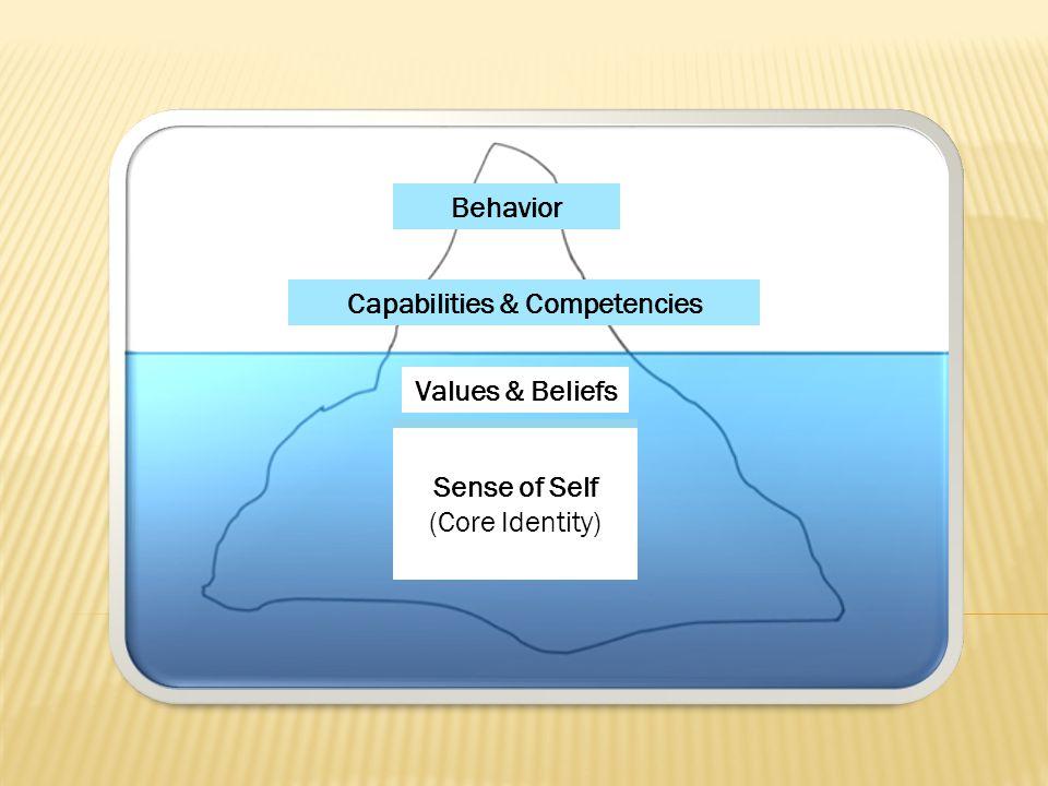 Values & Beliefs Behavior Sense of Self (Core Identity) Capabilities & Competencies