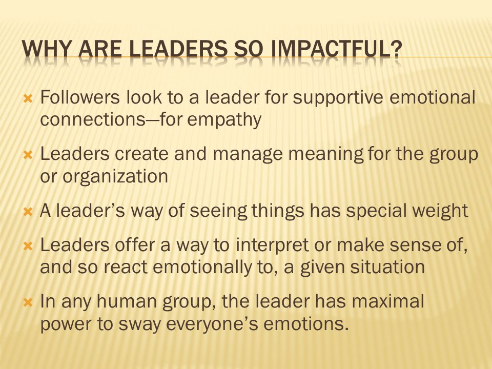 Followers look to a leader for supportive emotional connections—for empathy  Leaders create and manage meaning for the group or organization  A le