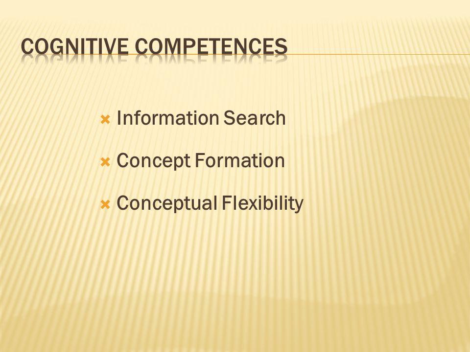  Information Search  Concept Formation  Conceptual Flexibility