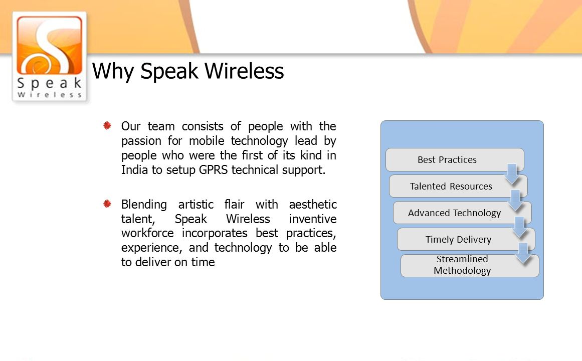 Why Speak Wireless Our team consists of people with the passion for mobile technology lead by people who were the first of its kind in India to setup