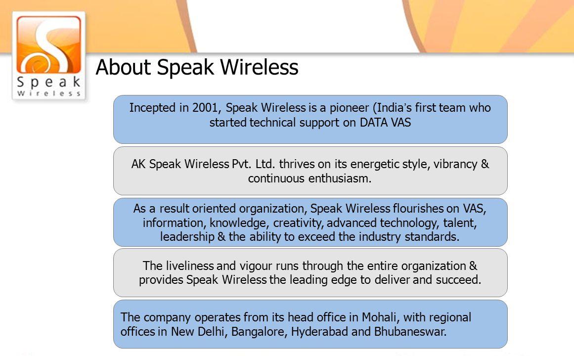 About Speak Wireless AK Speak Wireless Pvt. Ltd.
