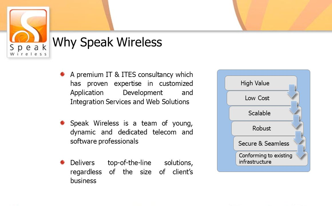 Why Speak Wireless A premium IT & ITES consultancy which has proven expertise in customized Application Development and Integration Services and Web Solutions Speak Wireless is a team of young, dynamic and dedicated telecom and software professionals Delivers top-of-the-line solutions, regardless of the size of client's business High Value Low Cost Scalable Robust Secure & Seamless Conforming to existing infrastructure