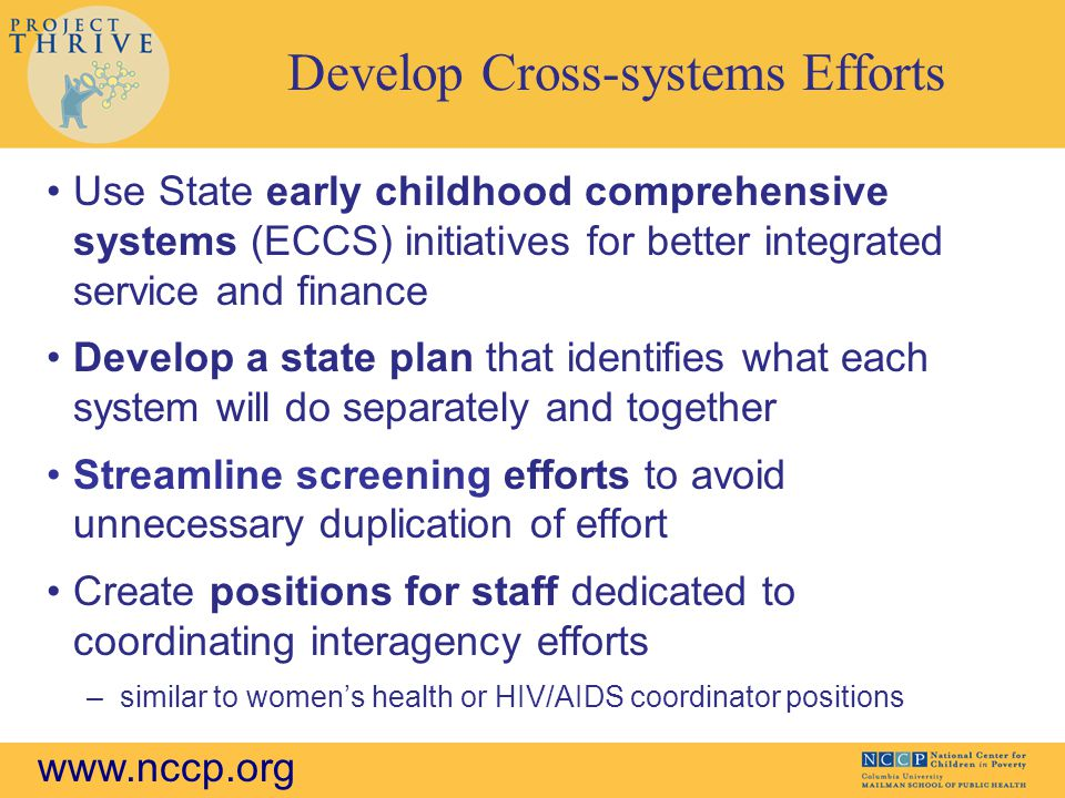 www.nccp.org Develop Cross-systems Efforts Use State early childhood comprehensive systems (ECCS) initiatives for better integrated service and finance Develop a state plan that identifies what each system will do separately and together Streamline screening efforts to avoid unnecessary duplication of effort Create positions for staff dedicated to coordinating interagency efforts –similar to women's health or HIV/AIDS coordinator positions