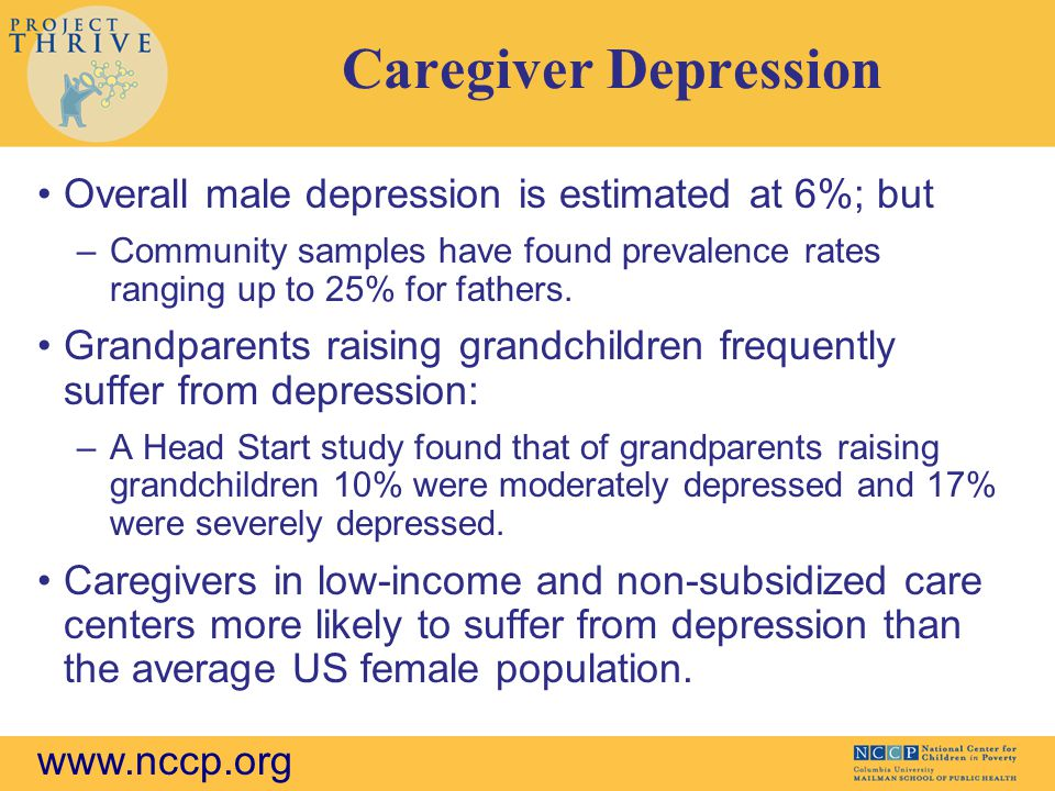 www.nccp.org Caregiver Depression Overall male depression is estimated at 6%; but –Community samples have found prevalence rates ranging up to 25% for fathers.