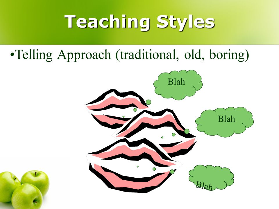 Teaching Styles Telling Approach (traditional, old, boring) Blah