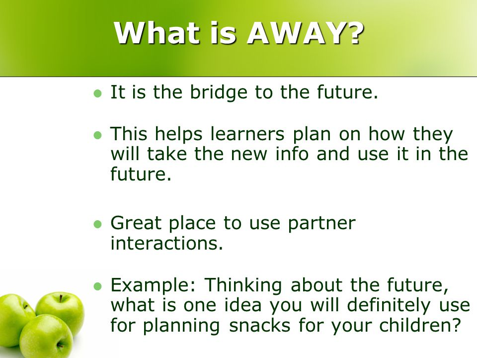 What is AWAY. It is the bridge to the future.