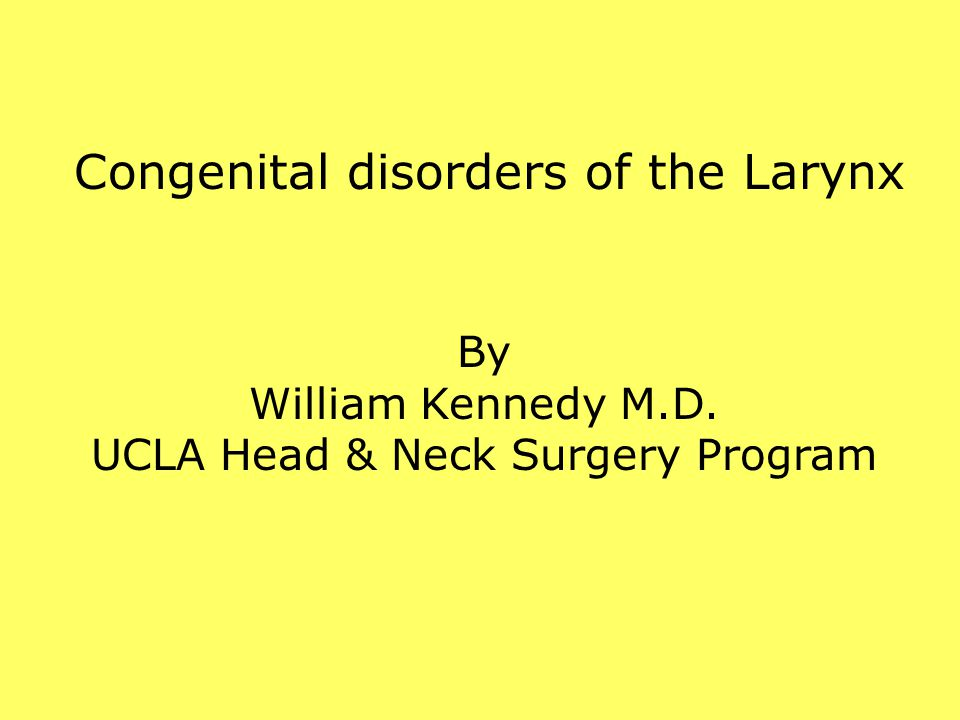 Congenital disorders of the Larynx By William Kennedy M.D. UCLA Head & Neck Surgery Program
