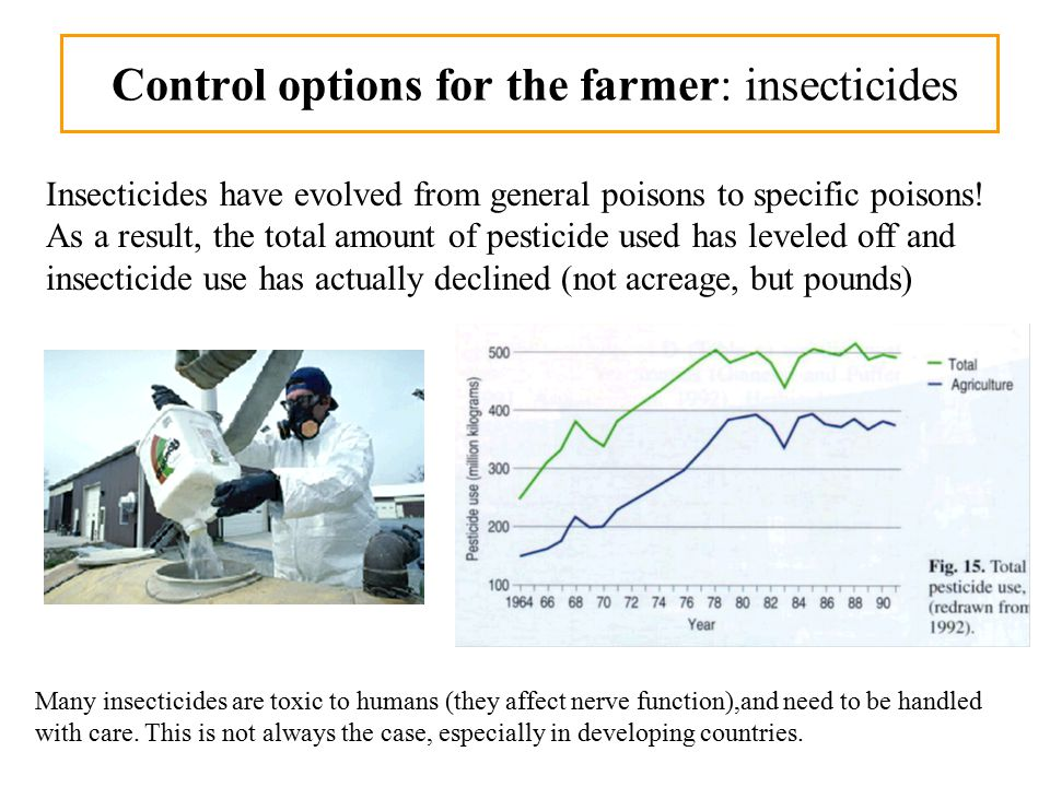 Control options for the farmer: insecticides Insecticides have evolved from general poisons to specific poisons.