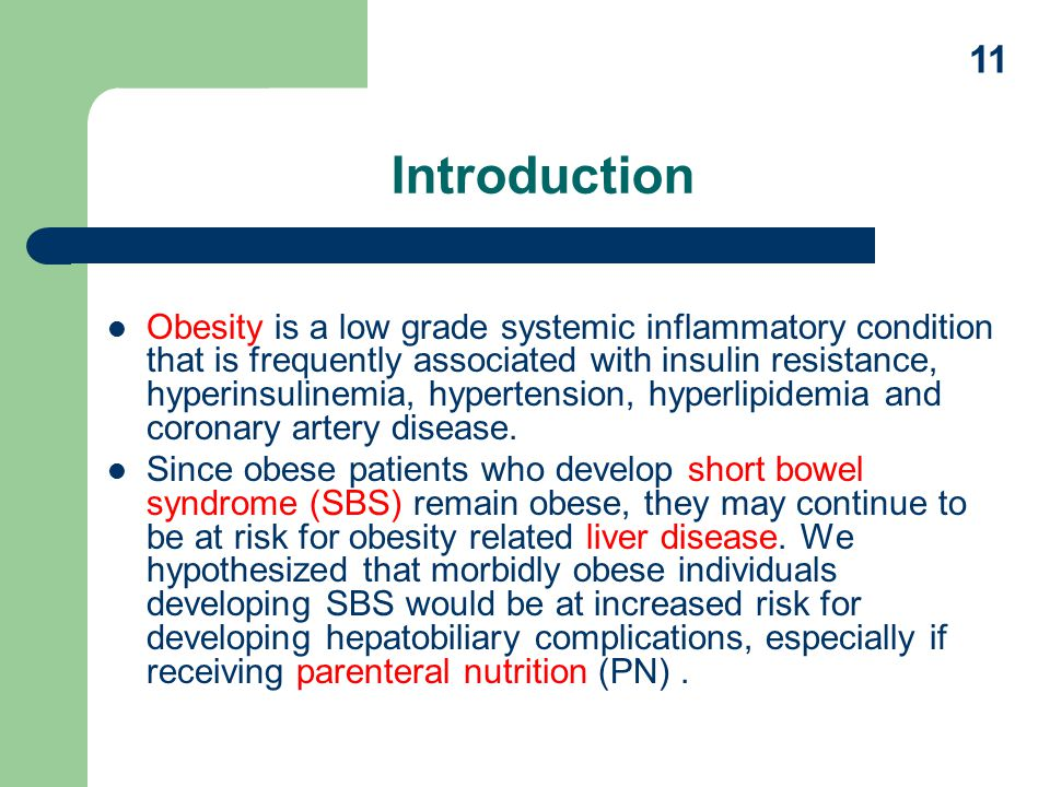 Introduction Obesity is a low grade systemic inflammatory condition that is frequently associated with insulin resistance, hyperinsulinemia, hypertension, hyperlipidemia and coronary artery disease.