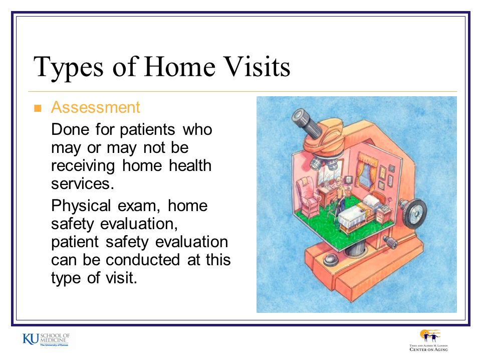 Types of Home Visits Assessment Done for patients who may or may not be receiving home health services.
