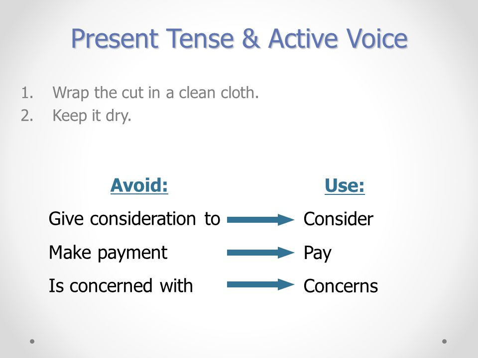 Present Tense & Active Voice 1.Wrap the cut in a clean cloth.