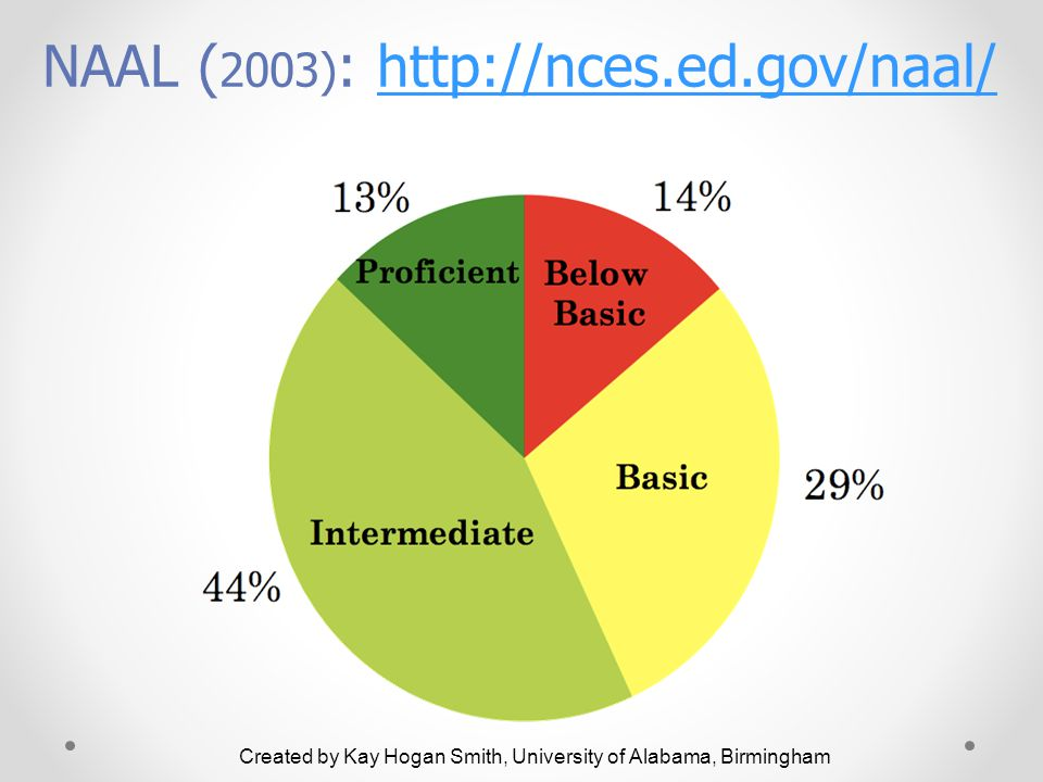 Created by Kay Hogan Smith, University of Alabama, Birmingham NAAL ( 2003) : http://nces.ed.gov/naal/http://nces.ed.gov/naal/