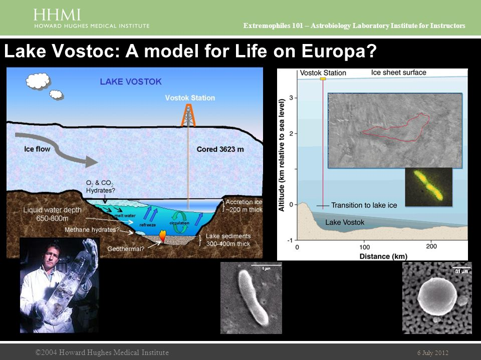 ©2004 Howard Hughes Medical Institute 6 July 2012 Extremophiles 101 – Astrobiology Laboratory Institute for Instructors Lake Vostoc: A model for Life on Europa