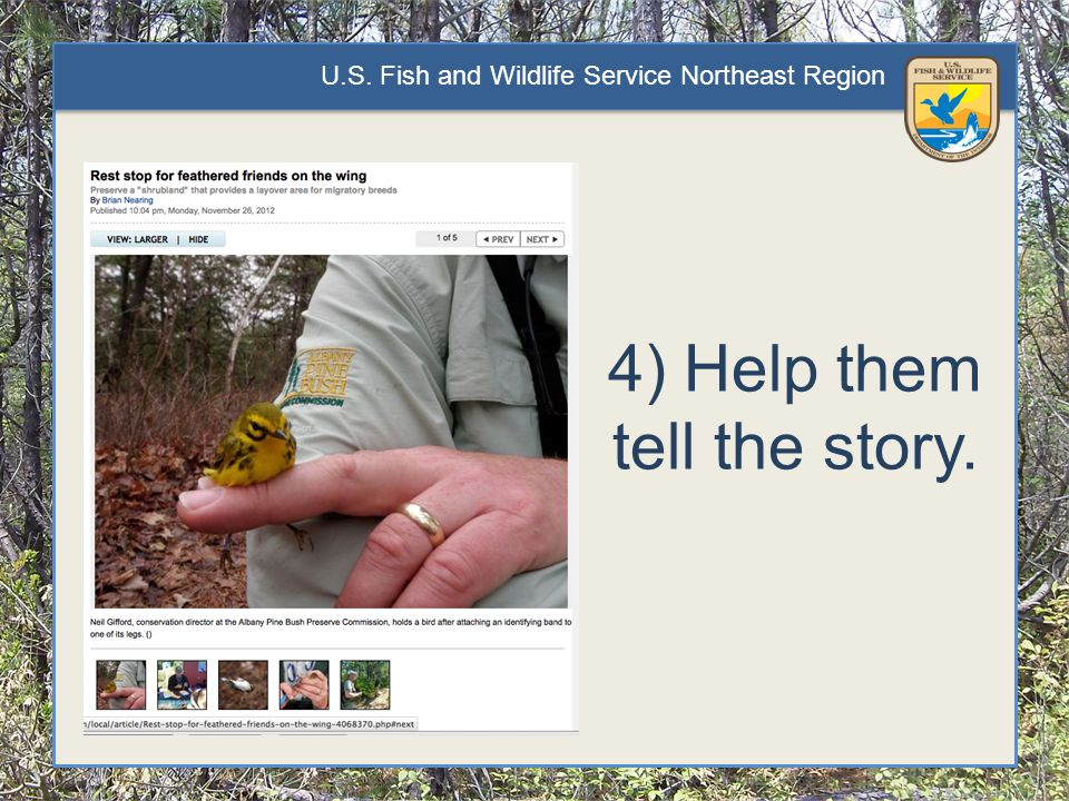 U.S. Fish and Wildlife Service Northeast Region 4) Help them tell the story.