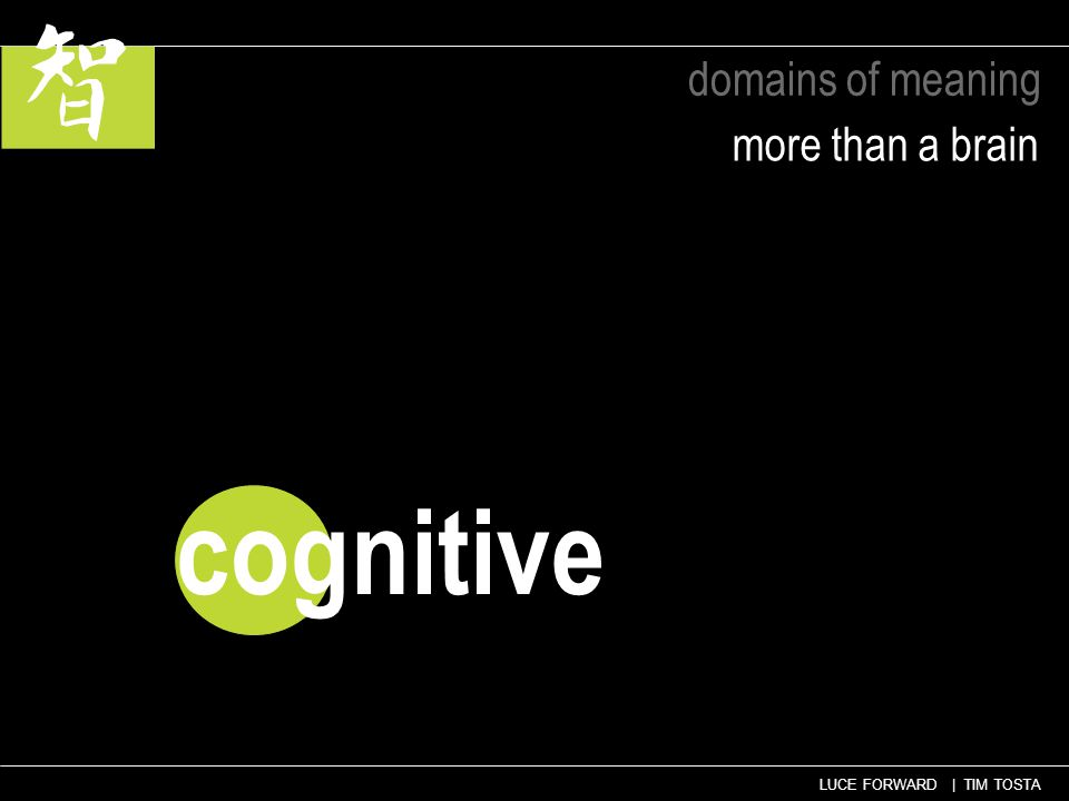 LUCE FORWARD | TIM TOSTA domains of meaning more than a brain cognitive