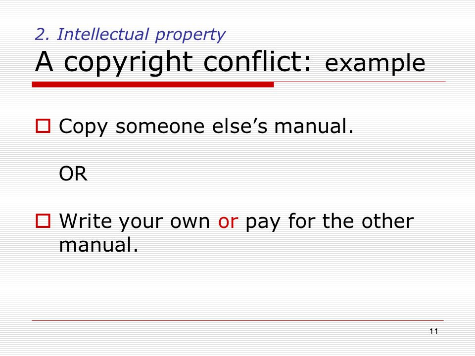 11 2. Intellectual property A copyright conflict: example  Copy someone else's manual.