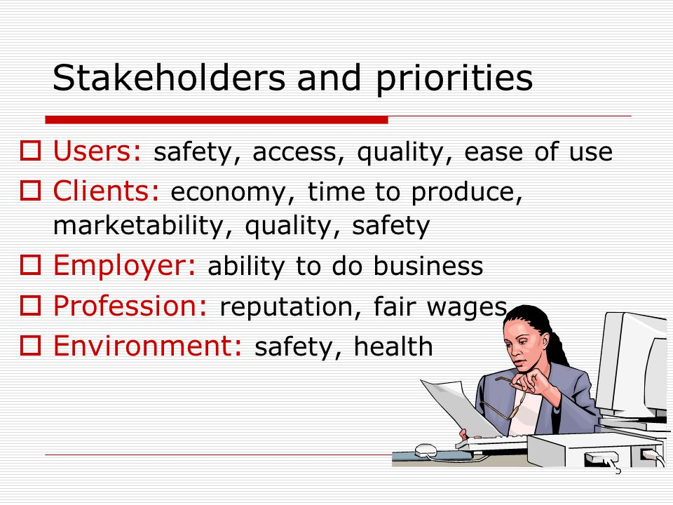 5 Stakeholders and priorities  Users: safety, access, quality, ease of use  Clients: economy, time to produce, marketability, quality, safety  Employer: ability to do business  Profession: reputation, fair wages  Environment: safety, health