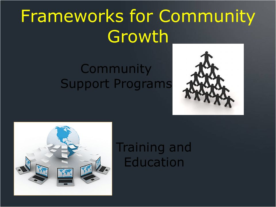 Frameworks for Community Growth Training and Education Community Support Programs