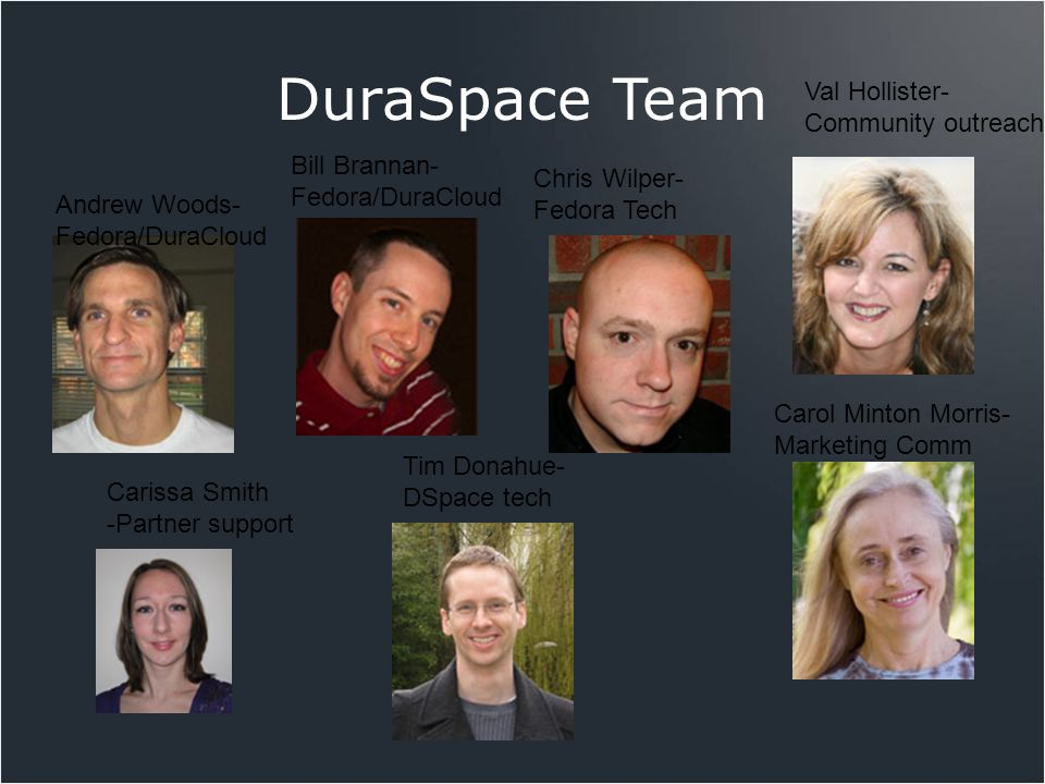 DuraSpace Team Andrew Woods- Fedora/DuraCloud Carissa Smith -Partner support Bill Brannan- Fedora/DuraCloud Chris Wilper- Fedora Tech Val Hollister- C