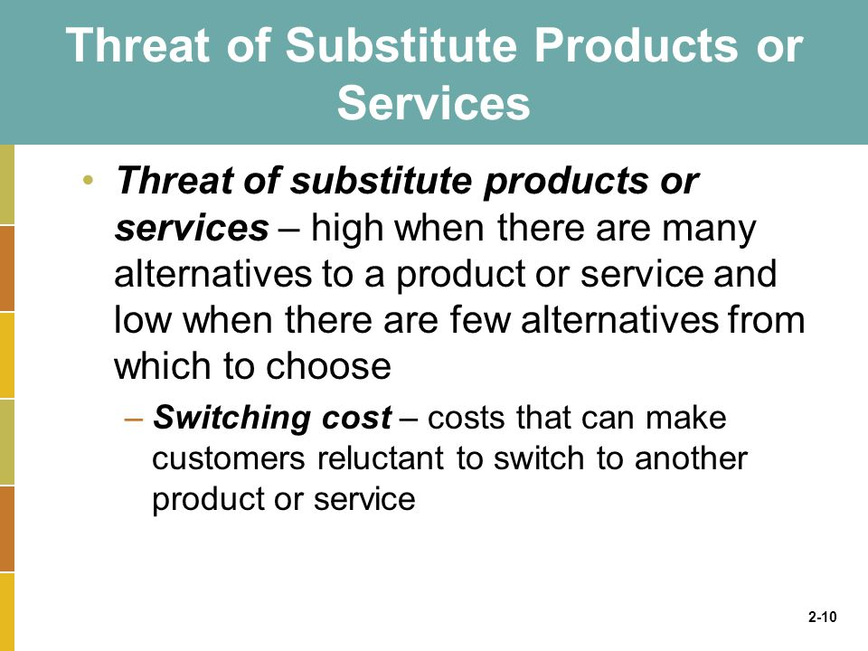 2-10 Threat of Substitute Products or Services Threat of substitute products or services – high when there are many alternatives to a product or service and low when there are few alternatives from which to choose –Switching cost – costs that can make customers reluctant to switch to another product or service